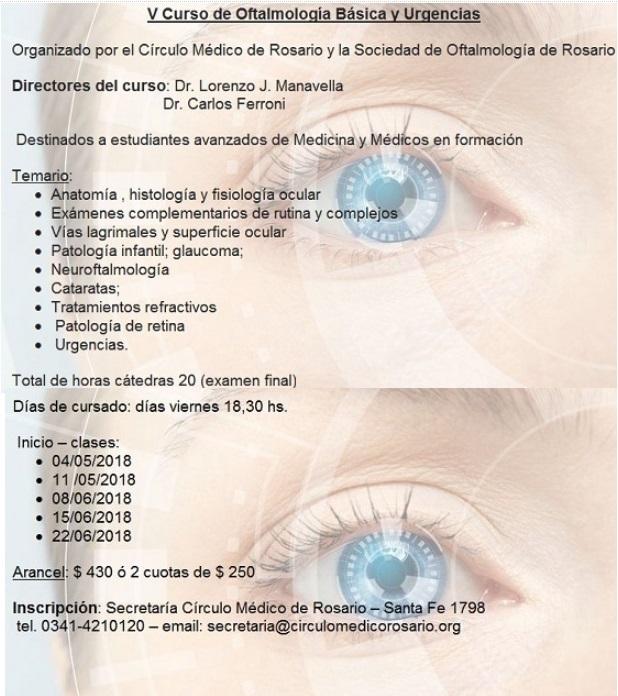Círculo Médico de Rosario - V Curso de Oftalmología básica y urgencias